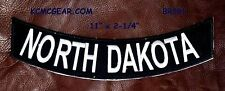 NORTH DAKOTA White on Black Back Patch Bottom Rocker for Biker Veteran Vest 10""