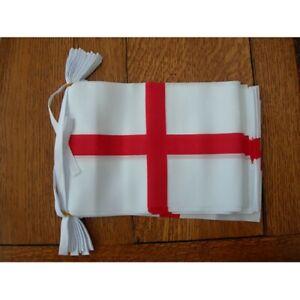"England Bunting 3m 10 flag St George Cross  Euro 2021 Small Fabric Flag 9""x6"""