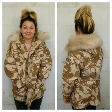 CAMOUFLAGE WINTER JACKET - FUR HOOD - VINTAGE FASHION - DESERT CAMO - WOMEN'S