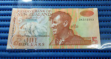 New Zealand $5 Note DK518903 Sir Edmund Hillary Dollar Banknote Currency