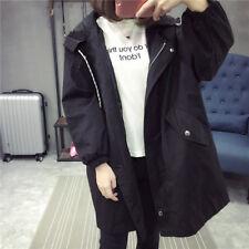 Korean Women Hooded Loose Coat Jacket Casual Trench Parka Outwear Windbreaker