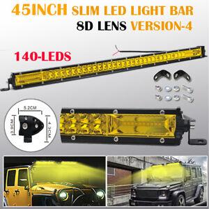 Yellow 45 inch Slim Led Light Bar Spot Flood Combo Work Driving Truck 4x4 SUV 46