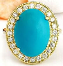 9.12 Carat Natural Turquoise 14K Solid Yellow Gold Diamond Ring