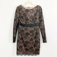 Trina Turk Black Lace Dress Size 8 Cocktail Formal Silk Long Sleeves Party