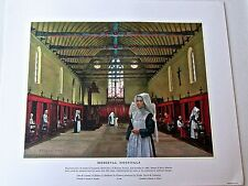 Medical Art- Medieval  Hospitals  Vintage Ltd Ed Offset Lithograph