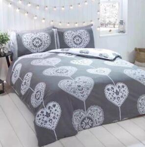 Rapport Skandi Hearts  King Duvet Set 100% Brushed Cotton Grey CHEAPESTON EBAY