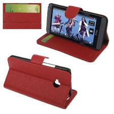 Book Tasche für HTC One M7 Handytasche in rot Etui Hülle Case Cover Schutzhülle