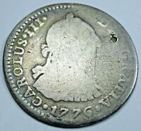 1776 FM Spanish Mexico Silver 1 Reales Piece of 8 Real Colonial Era Pirate Coin