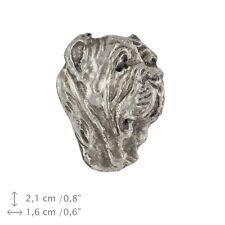 Neapolitan Mastiff head, silver covered pin, high quality Art Dog Usa