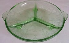 Depression Green Glass Hocking Cameo Ballerina 3 Part Relish Dish Divided Bowl