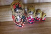 Wooden Nesting Dolls 4 pieces,girl with flowers,  VGC