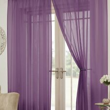 PAIR OF LUCY PLAIN EYELET RING TOP VOILE READY MADE CURTAINS NEW VIBRANT COLOURS