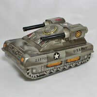 Vintage ATC M-105 US Army Tank Japan Tin Litho Friction Military Toy 235709 READ