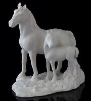 Mare Horse Foal White Marble Figurine Russian Art Stone Sculpture Animal Statue