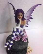 Pondering Purple Violet Fairy Trinket Box Keepsake Figurine Statue