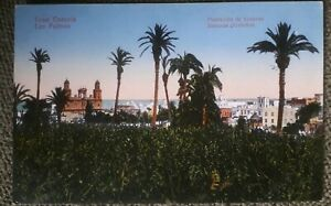 VINTAGE COLOUR PHOTOGRAPHIC POSTCARD LAS PALMAS GRAN CANARIA SPAIN USED 1922
