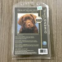 NEW Dimensions Gold Collection Hot Chocolate Lab Puppy Petite Cross Stitch Kit