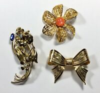 Lot of 3 Vintage Rhinestone and Gold Tone Brooches Pins