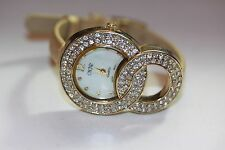 CACHE WOMEN'S GOLD TONE AND RHINESTONE LUXURY DRESS WATCH GOLD TONE  BAND