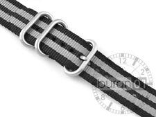 Uhrenarmband Wasserfest CUT Militär  Strong  grau- schwarz  20mm, 24mm 26mm