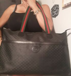 Vintage Authentic GUCCI Sherry Line Black Leather Logo Tote Bag canvas coated