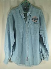 Mens Custom Chrome Button Down Long Sleeve Blue Denim Shirt Harley Davidson M