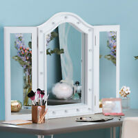 Makeup Mirror Tri Fold With Lights Rose Gold Plus 10pcs