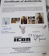 Kara Monaco Signed Personally Worn Playmate PMOY Bunny Diamond Platinum Necklace