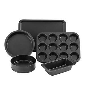 NON STICK 5 PIECE MIX SPRINGFORM CAKE ROUND SQUARE TRAY PAN FOR BAKE COOK PARTY