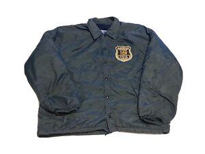 Vintage Old Brookville Police New York Champion Button Down Jackst Size XL Blue