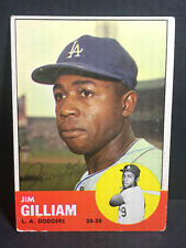 Signed 1963 Topps #80 Jim Gilliam AUTOGRAPH - Died 1978 - LA  Dodgers AUTO