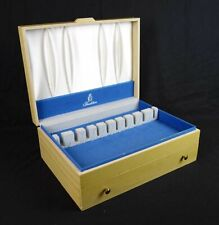 Vintage Tradition Yellow Painted Wood Silverware Flatware Chest Case Box Drawer