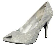 Mujer Nuevo Dama de Novia la Boda Fiesta Formal Encaje Plateado Zapatos UK 3-8