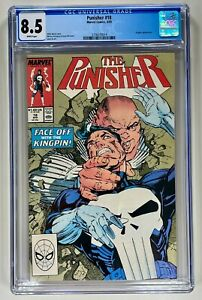 PUNISHER #18 CGC 8.5 VF+ WHITE (DC 1989) NICE KINGPIN COVER 🔑