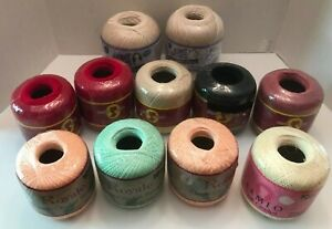 Lot of Vintage Crochet Thread 11 New Balls.  Aunt Lydia,South Maid,Royale,Cameo