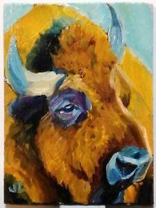 ACEO original oil painting BISON animal bovinae impressionist fine art signed