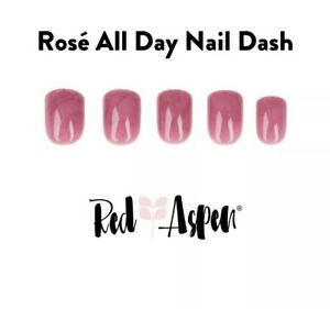 Red Aspen Shiny Short Square POP On Reusable Nail Dashes Rose All Day Marble