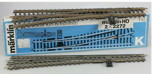Märklin HO #2272 K Track Straight Left Hand Turnout Pair, VG/BX
