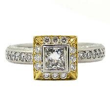 1.18 Quilates Natural Anillo Compromiso Corte Diamante Princesa Platino