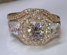 Ct Round Cut Engagement Wedding Ring Set 18K Yellow Gold Plated Silver Ring 3.03