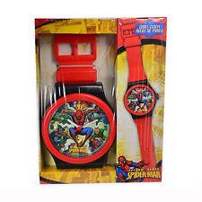 SPIDERMAN UOMO RAGNO orologio da polso per parete nero rosso 100 cm idea regalo