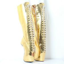 Unisex BDSM Crossdresser Drag Queen Lace Ups Wedge Hoof Heelless Mid Calf Boot L