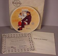 Norman Rockwell Christmas Collector Plate ; Santa in the Subway MIB  1983 w/ COA