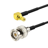 SMB Male Pin Right Angle to BNC Male Plug Adapter Cable RF Pigtail 30cm RG174
