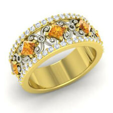 1.40 Ct Natural Diamond Citrine Eternity Band 14K Yellow Gold Ring Size 5 6 7 8