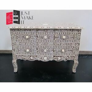 Bone Inlay Console sideboard Grey and White Floral (MADE TO ORDER)