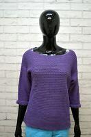 Maglione CALVIN KLEIN Felpa Donna Size L Pullover Sweater Cardigan Cotone Viola
