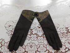 "New listing Brown Italian Kidskin Leather Dress Gloves Vtg 7 Acrylic Lined 10"""