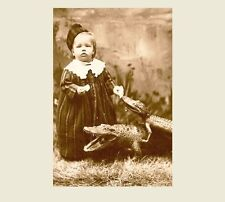 Vintage Alligator Baby Girl PHOTO Freak Scary Creepy Weird Odd Circus