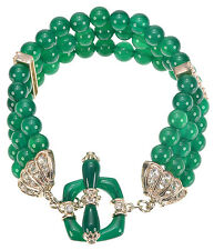 "Smithsonian Green Agate beads/White Topaz Sterling Silver Bracelet 7-1/4""L"